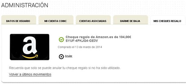 Cheque regalo comentar en amazon