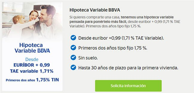Hipoteca variable de BBVA